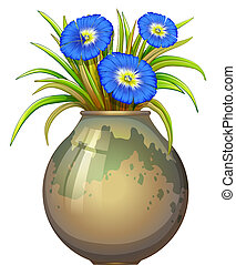 A pot with blue flowers - Illustration of a pot with blue...