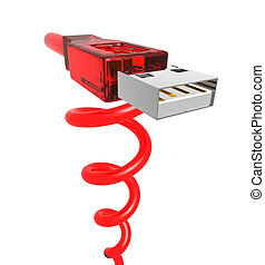red spiral usb - 3d rendering of a red usb cable with spiral...