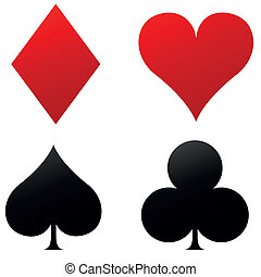 Four playing cards icons - Vector illustration of four...