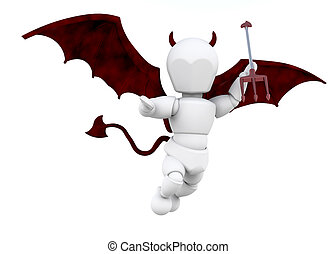 Little devil - 3D render of a man dressed as a devil with a...