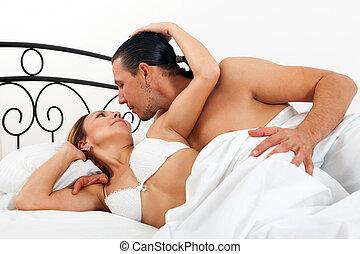 pareja, teniendo, Adulto, Cama, sexo