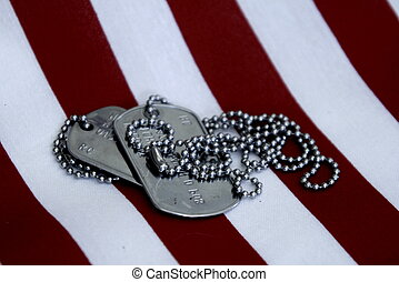 Service - Close up of silver dog tags on chain red and white...