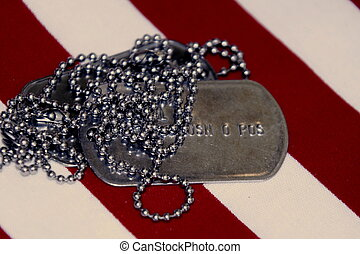 Proud Identity - Veterans identitity dog tags close up on...