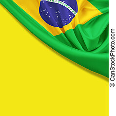 Flag of Brazil on yellow background Clipping path for flag...