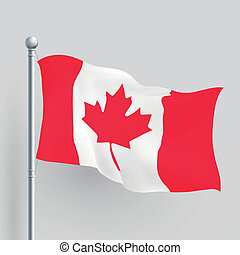 3D, vetorial, Canadá, bandeira