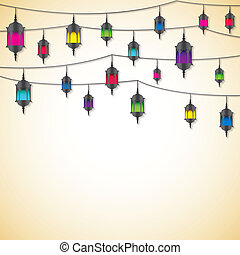 Arabic lantern card in vector format