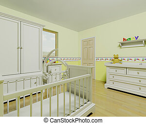 nursery - 3d render of childs nursery