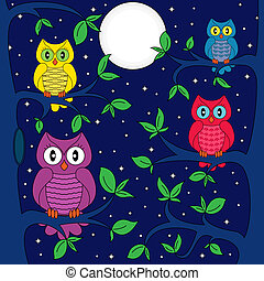 Owls in a moonlit night - Owls sitting on a tree in a...