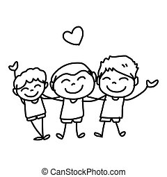 hand drawing cartoon happy kids - hand drawing cartoon...