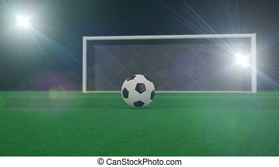 Shooting at Goal, slow motion 3d animation