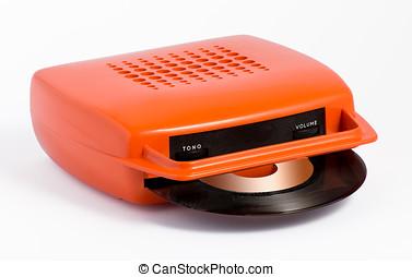 Orange portable record player - Retro orange portable record...