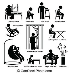Furniture and Decorations Icons - A set of human pictogram...