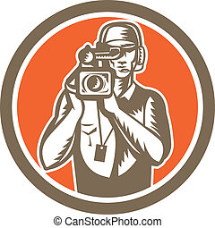 Cameraman Holding Movie Video Camera Circle - Illustration...