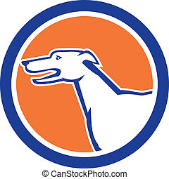 Greyhound Dog Head Side Retro Circle - Illustration of a...