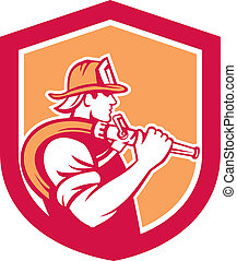 Fireman Firefighter Holding Fire Hose Shoulder Shield -...