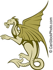 Green Dragon Full Body Cartoon - Illustration of a green...
