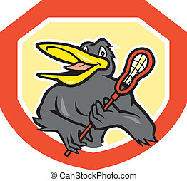 Black Bird Lacrosse Player Shield Cartoon - Illustration of...