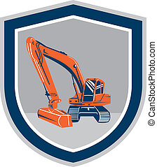 Mechanical Digger Excavator Retro Shield