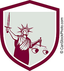 Statue of Liberty Holding Sword Scales Justice Shield -...