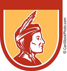 Native American Indian Chief Shield Retro