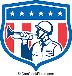Soldier Blowing Bugle Crest Stars Retro - Illustration of a...
