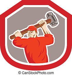 Union Worker Striking Smashhammer Shield Retro -...