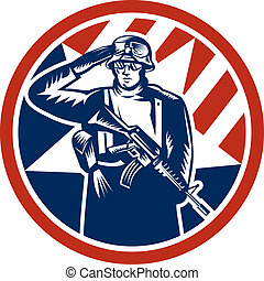American Soldier Salute Holding Rifle Retro