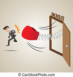 cartoon businessman punch out of boss room - illustration of...