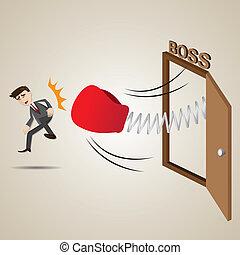 caricatura, homem negócios, soco, saída,...