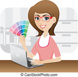 cartoon girl graphic designer showing color chart -...