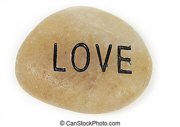 Love engraved on stone - Love word engraved on stone with...