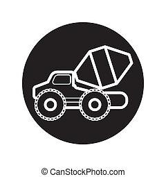 Concrete Mixer Truck icon vector - image of Concrete Mixer...