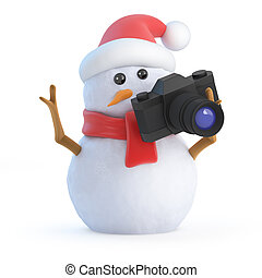 3d Santa snowman takes some holiday snaps - 3d render of a...