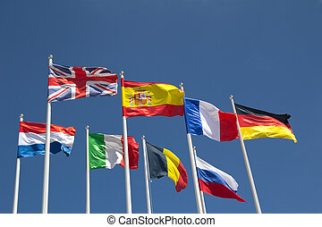 International Flags with blue sky