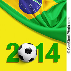 Flag of Brazil on yellow background. 2014 year digits.