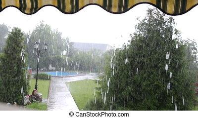 Rain in the yard with swimming pool