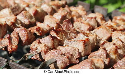 Shashlyk kebab grilling on the bbq, closeup view