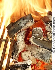 Barbecue grill, charcoal and Flames of Fire Background and...