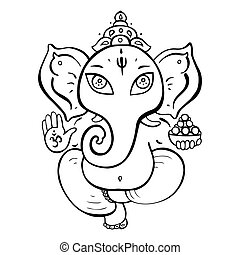 Hindu God Ganesha Vector hand drawn illustration