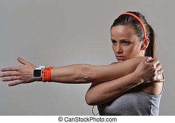 vacker, kvinna,  fitness