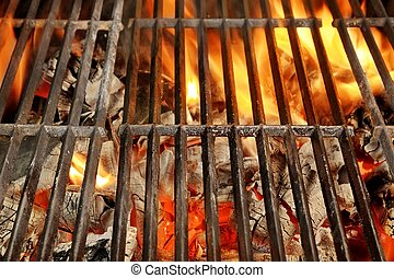 Hot BBQ Grill and Glowing Coals Background and Texture with...
