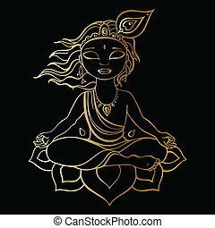 Hindu God Krishna. Vector hand drawn illustration.