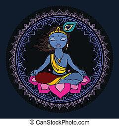 Hindu God Krishna Vector hand drawn illustration