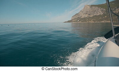 Coast of Crimea Black Sea from the speed boat on a sunny day...