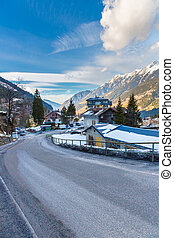 Ski resort town Bad Gastein in winter snowy mountains,...