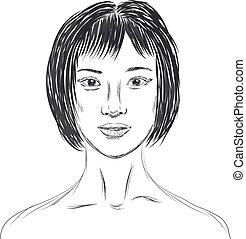 Portrait of Chinese girl in sketch style - Vector portrait...