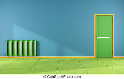 Empty Colorful room - Colorful room with green door and...