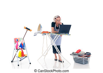 Household, housekeeping - House wife, basket with ironed...