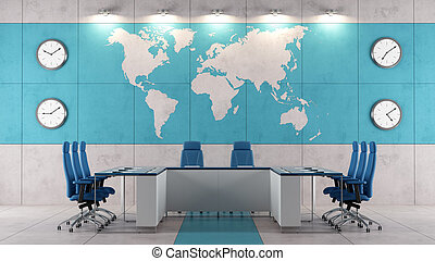 Contemporary boardroom with meeting table and world map on...
