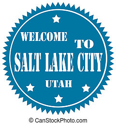 Welcome To Salt Lake City-label - Blue label with text...